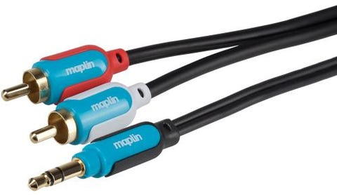 Maplin Premium 3.5mm Stereo 3 Pole Jack to Twin 2 Pole RCA Phono Cable (1.5m)