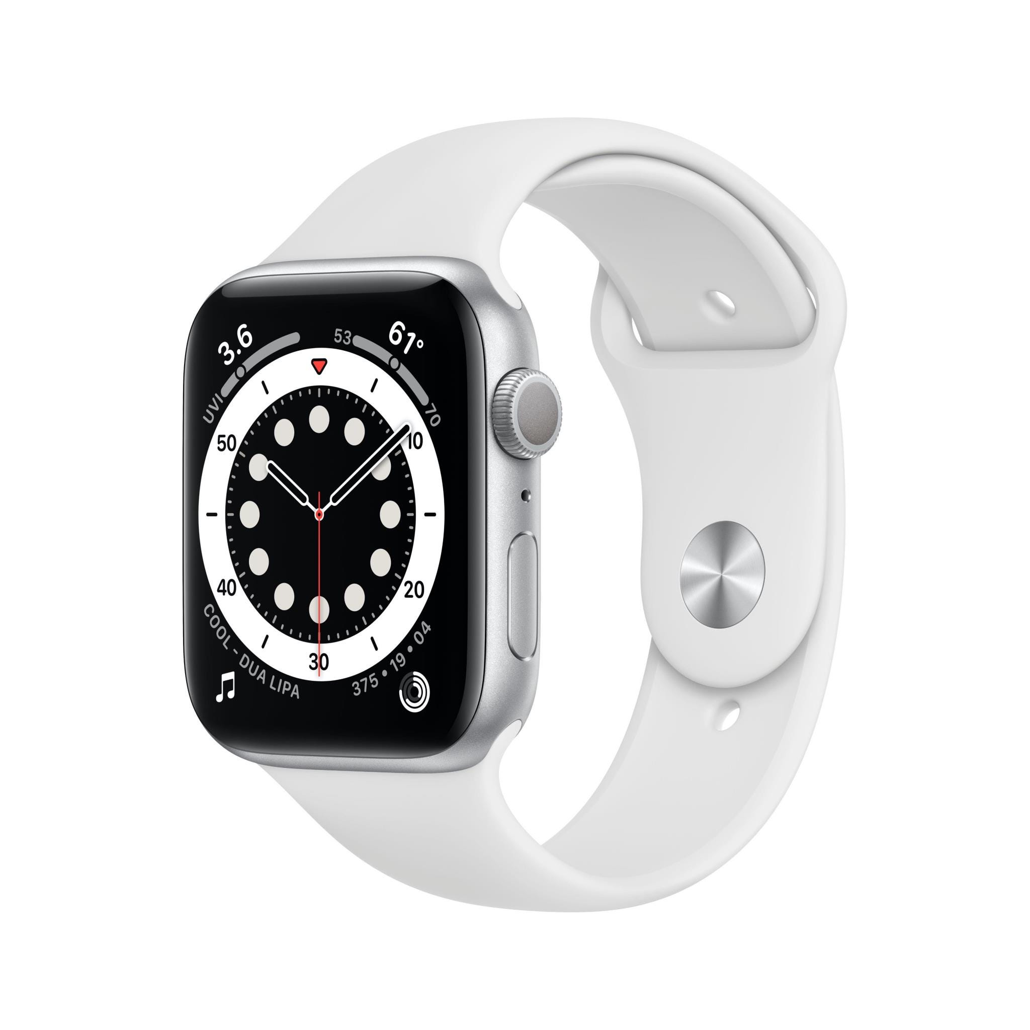 Apple GPS 44mm Watch Series 6  - Regular - Silver Aluminium Case with White Sport Band
