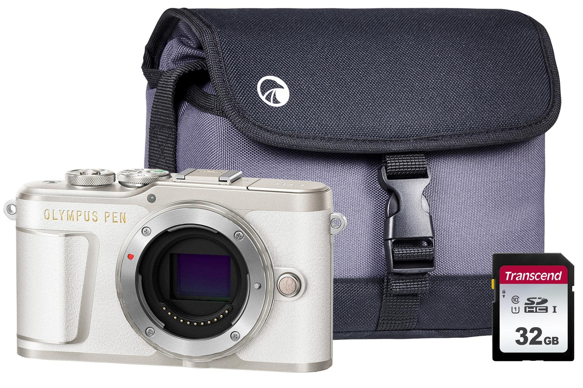 Olympus PEN E-PL9 Compact System Camera Body including Case & 32GB SD Card - White