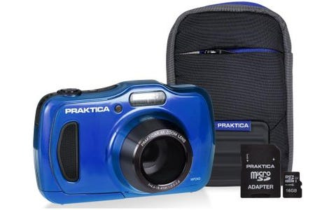 PRAKTICA Luxmedia WP240 Camera Kit inc 16GB MicroSD Card and Case -Blue