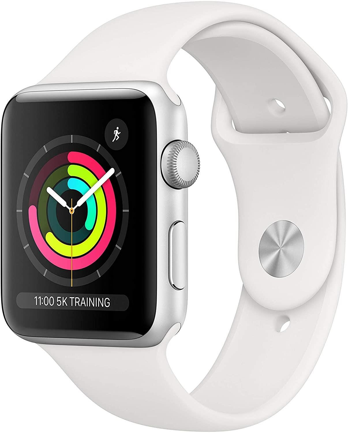 Apple GPS 42mm Watch Series 3 - Silver Aluminium Case with White Sport Band