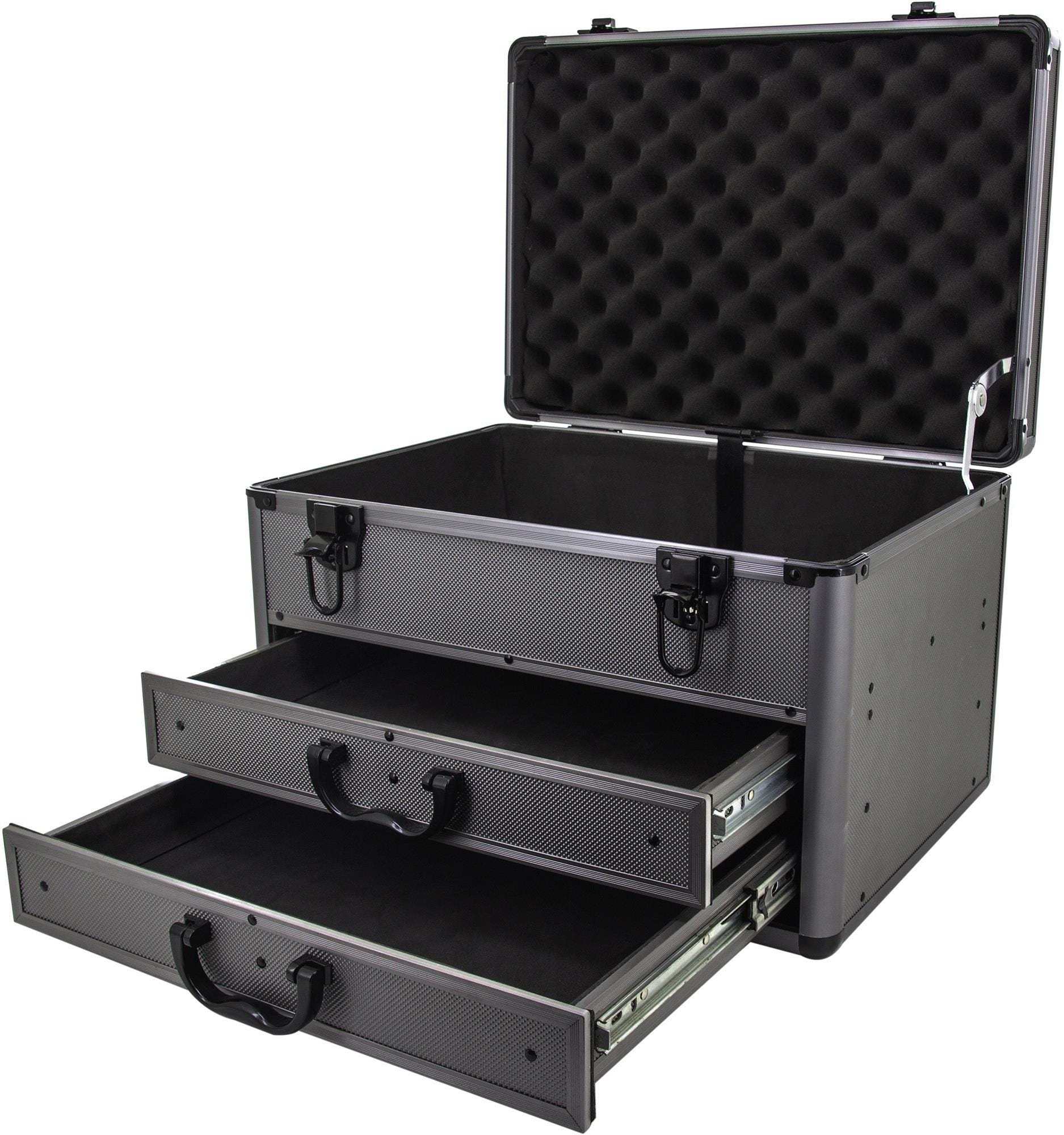 ROC Cases Heavy Duty Aluminium Storage Tool Box Carry Case with Sliding Drawers - Grey