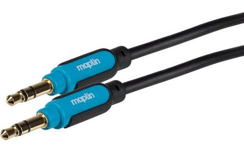 Maplin Premium 3.5mm Stereo Auxiliary 3 Pole Jack Cable - Black, 0.75m