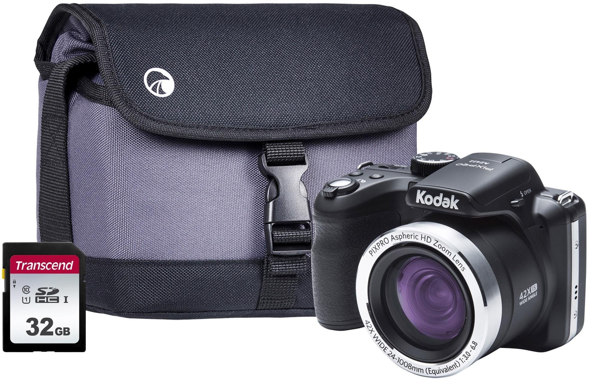Kodak PIXPRO AZ422 Astro 20MP 42x Zoom Bridge Camera, 32GB SDHC Card    Case - Black