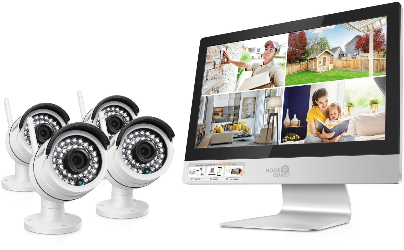 HomeGuard HGNVK-49004 Indoor / Outdoor Wireless HD Night-Vision 4-Channel IP NVR Monitor Kit with 4 Cameras - White
