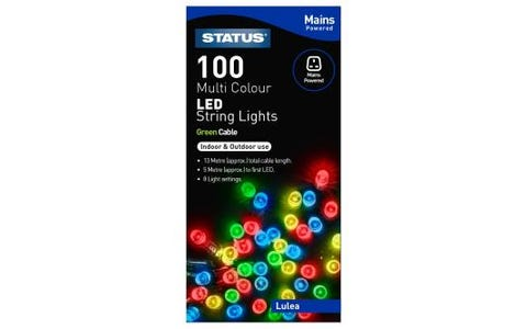 Status Lulea 100 Muti Coloured LED String Lights Indoor/Outdoor 8 functions 13m