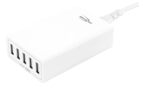 ANSMANN Compact 5 USB Port High Speed Intelligent Charger UK and EU Plugs - White