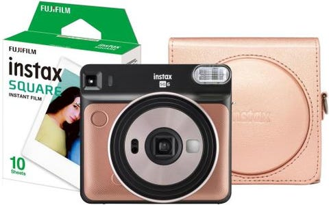 Fujifilm Instax Square SQ6 Instant Camera Kit including 10 Shots and Case - Blush Gold