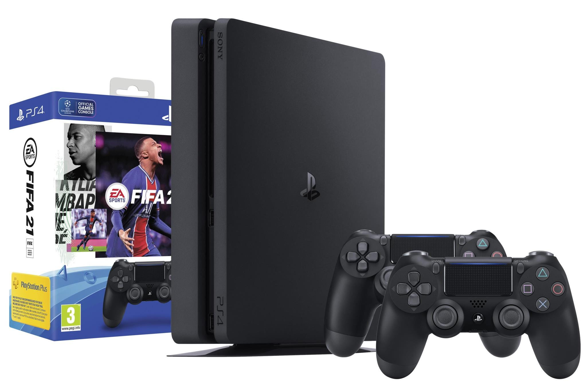 Sony PlayStation 4 500GB Black Console Bundle with Additional DualShock Controller & FIFA 2021 Digital Download Game