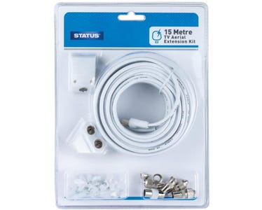 Status Coax TV Aerial Cable (15m) Extension Kit including Clips, Adapters & Plugs - White