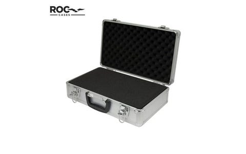 ROC Cases Aluminium Flight Case with inner Foam (400 x 240 x 125mm) - Silver