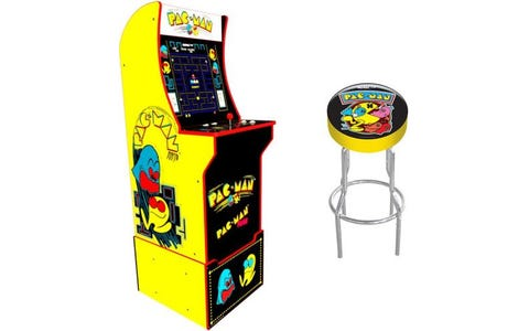 Arcade1Up Pac-Man Home Arcade Game with Light Up Marquee, Licensed Stool & Riser