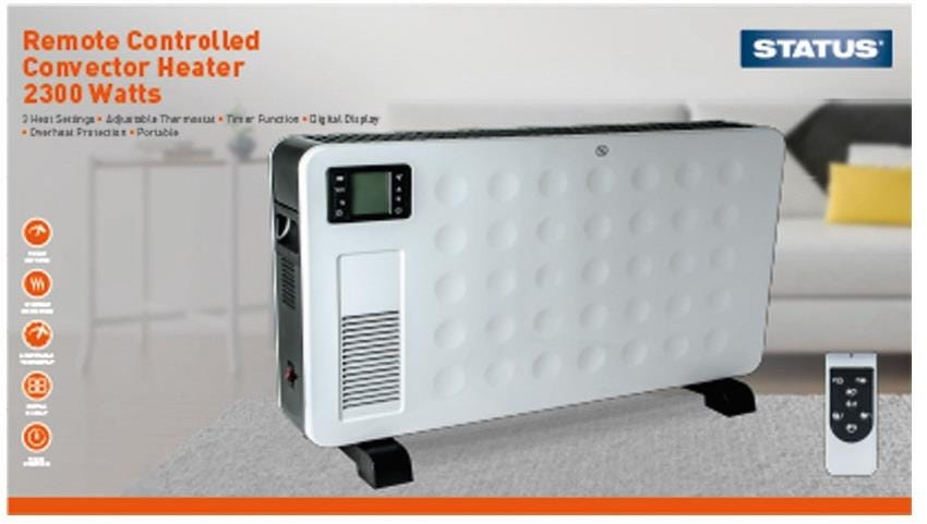 Status 2300w Portable Remote Controlled Convector Heater with 2 Heat Settings, Digital Display & Timer