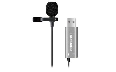 ProSound Lavalier Clip On Lapel Omnidirectional USB Microphone with 3.5mm Female Socket