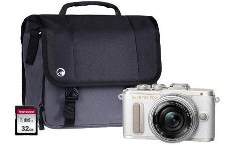 Olympus PEN E-PL8 Camera Kit include 14-42mm Pancake Lens, 32GB SD Card & Case - White