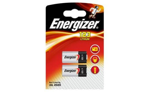 Energizer CR123 Lithium Batteries - 3V - 2 Pack