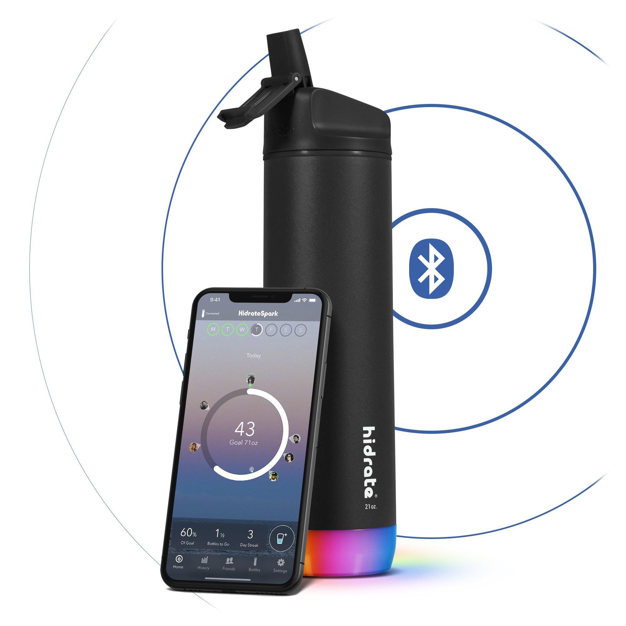 Hidrate Spark Steel Insulated Stainless Steel Bluetooth Smart Water Bottle Straw Lid (21oz) - Black