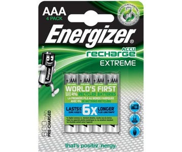 Energizer AAA 800mAh Rechargeable Extreme Ni-MH Batteries (Pack of 4)
