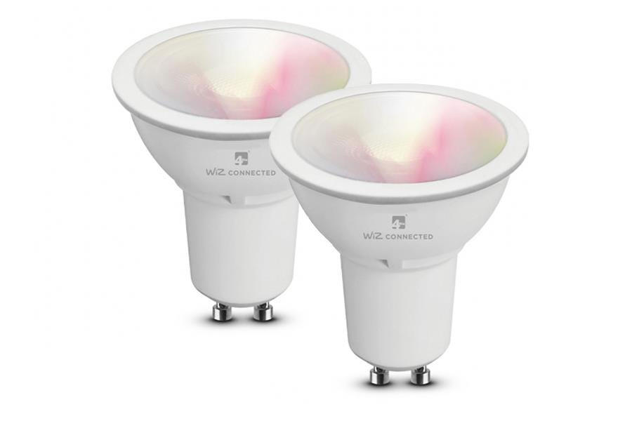 4lite WiZ Connect Colour and Tuneable White LED Smart Bulb WiFi GU10 Fit x2 Pack