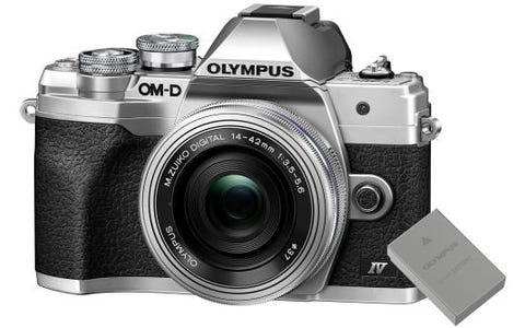 Olympus OM-D E-M10 MK IV Mirrorless Camera with 14-42mm EZ Lens and FREE SPARE BLS-50 BATTERY - Silver