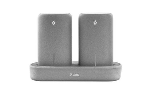 TTEC PowerStones Set - 2x 5000mAh Powerbanks Wireless Charging Station-Grey