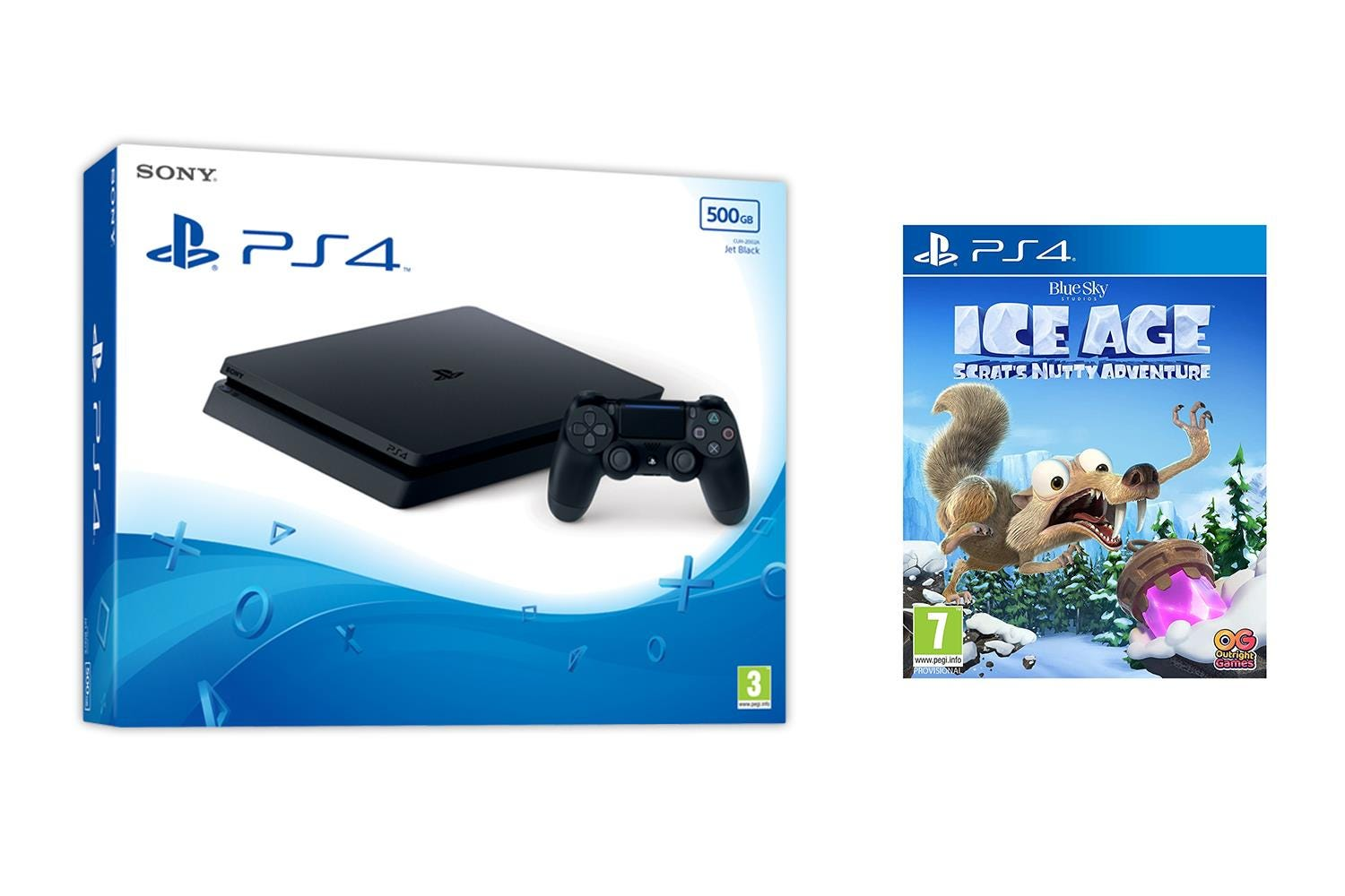 Sony PlayStation 4 500GB Jet Black Console with Ice Age: Scrat's Nutty Adventure