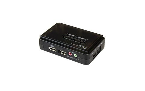 Startech SV211KUSB 2-Port USB KVM Switch Kit with Audio & Cables - Black