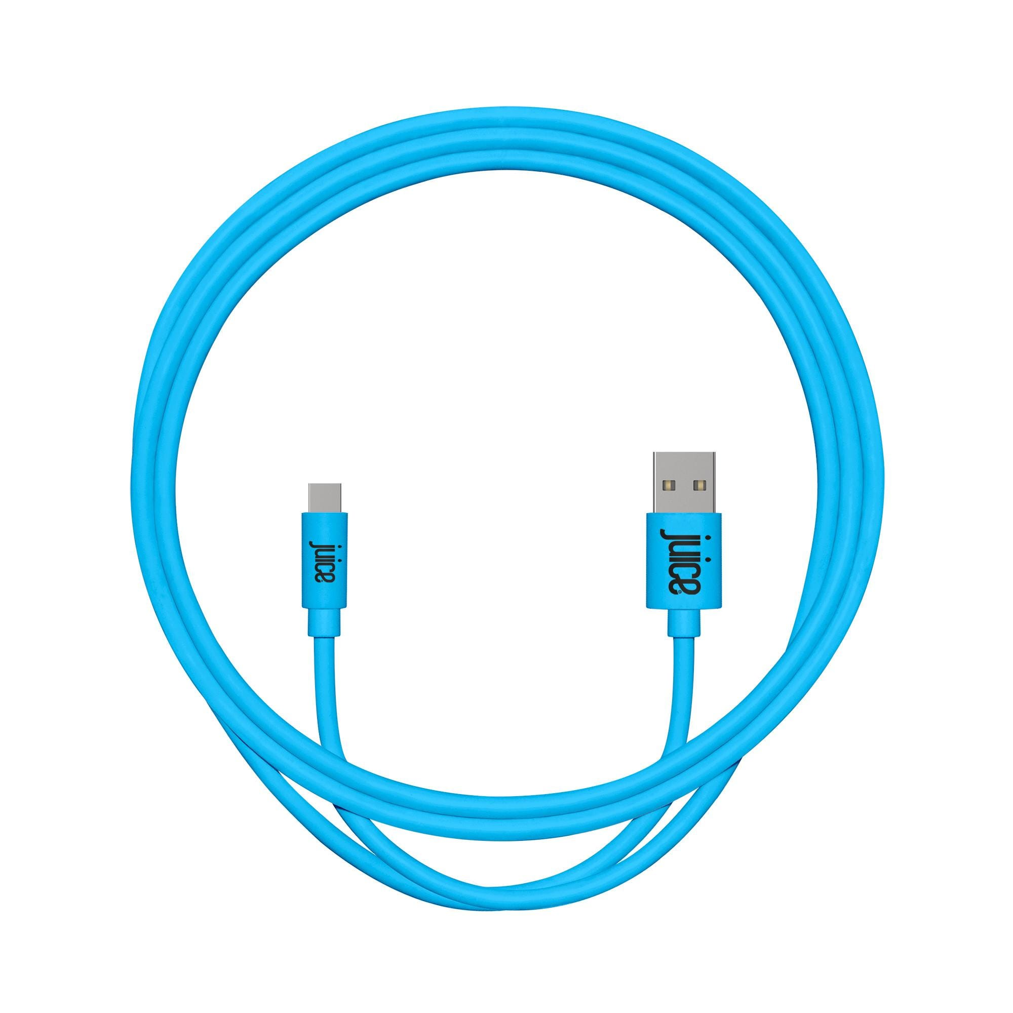 Juice USB-A to USB-C Rounded Cable (1m) - Aqua