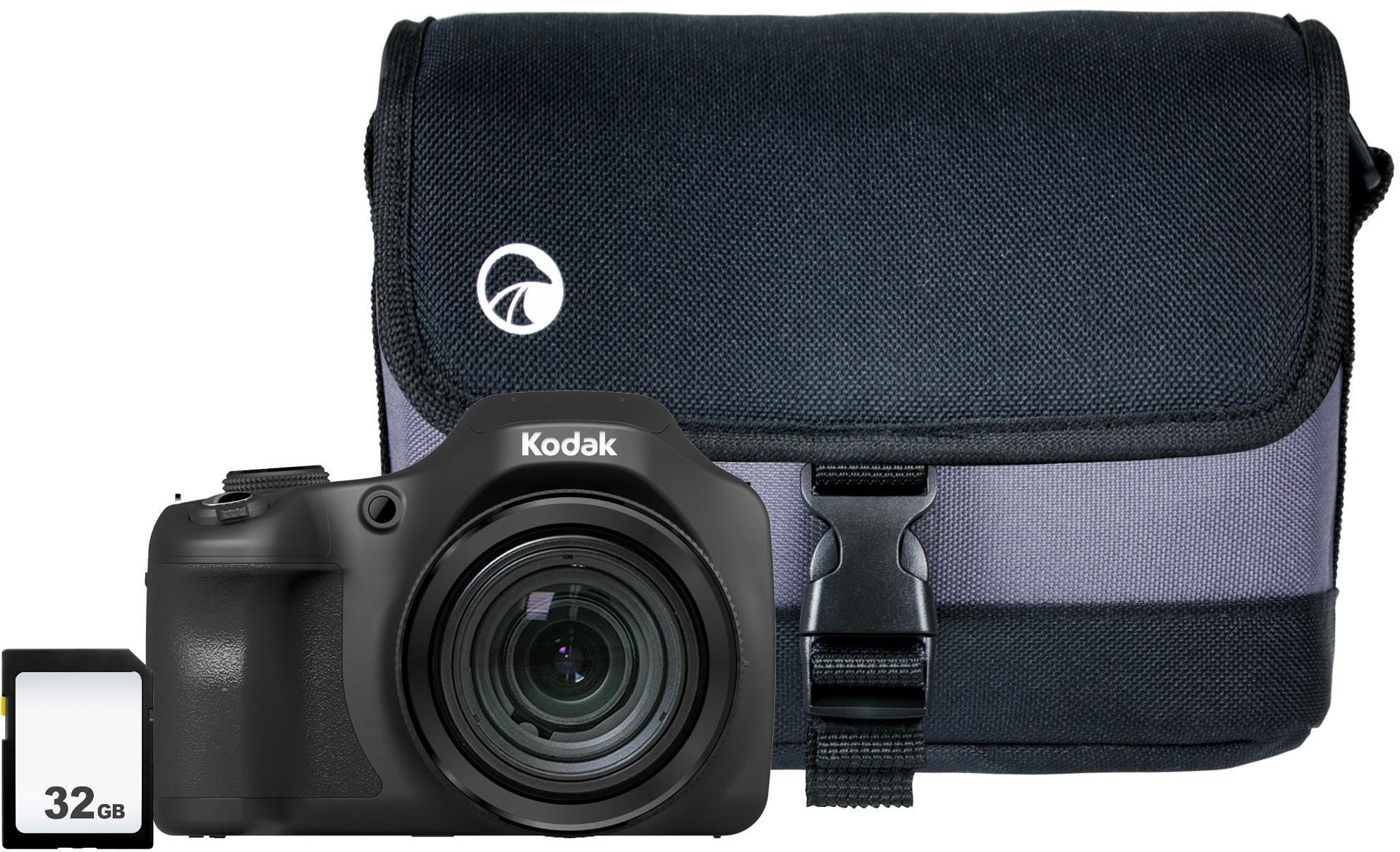 Kodak PIXPRO AZ652 20MP 65x Zoom Bridge Camera, 32GB SD Card    Case - Black
