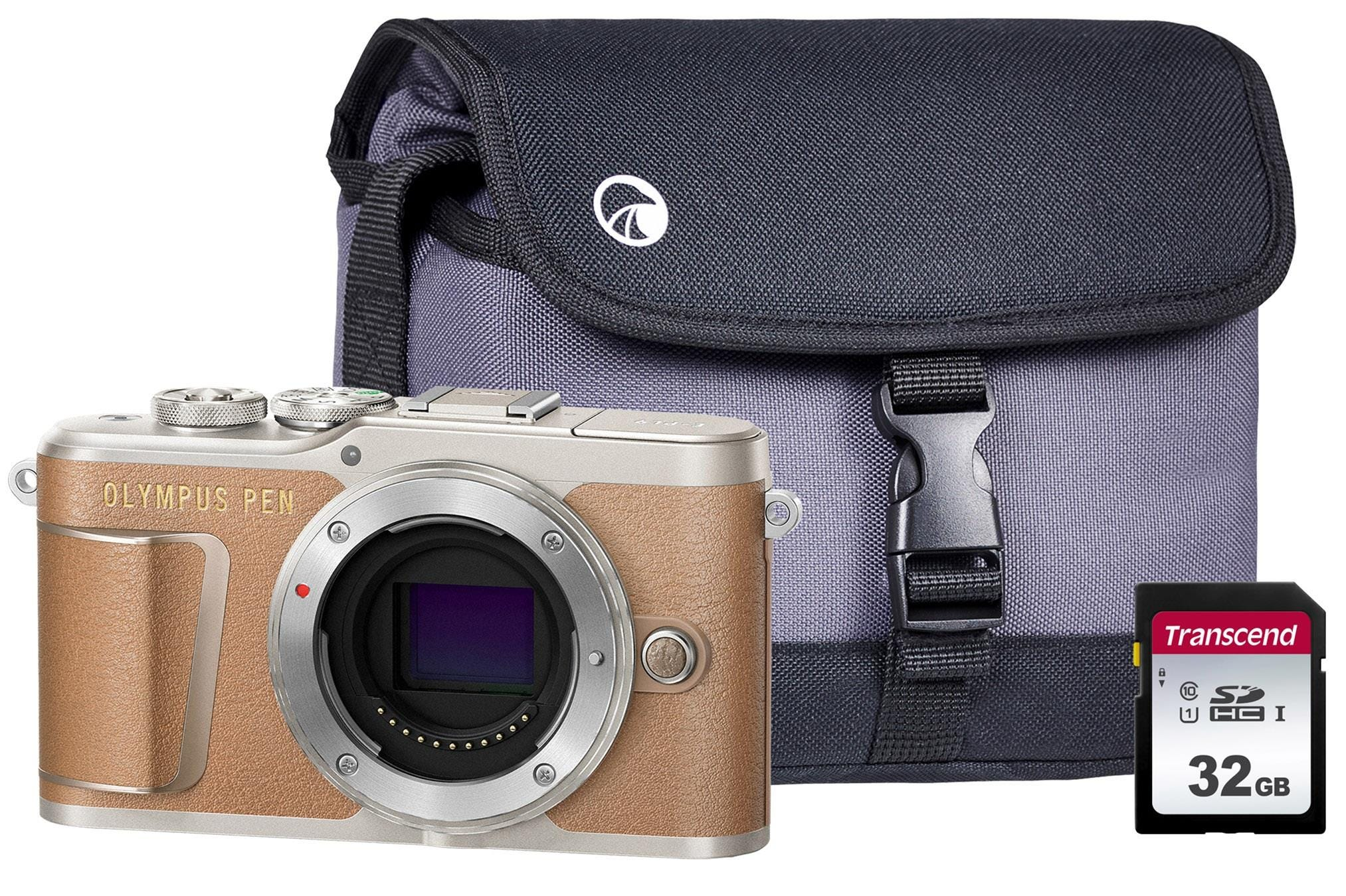 Olympus PEN E-PL9 Compact System Camera Body including Case & 32GB SD Card - Brown