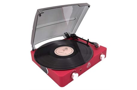 GPO Stylo VII Rubberised Turntable - Red