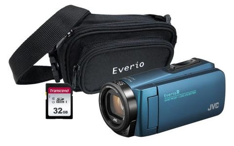 JVC GZ-R495 Blue 4GB Memory HD Quad Proof Camcorder Kit inc 32GB SD and Case