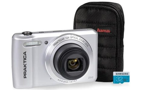PRAKTICA Luxmedia Z212 Silver Camera Kit inc 32GB MicroSD Card & Case